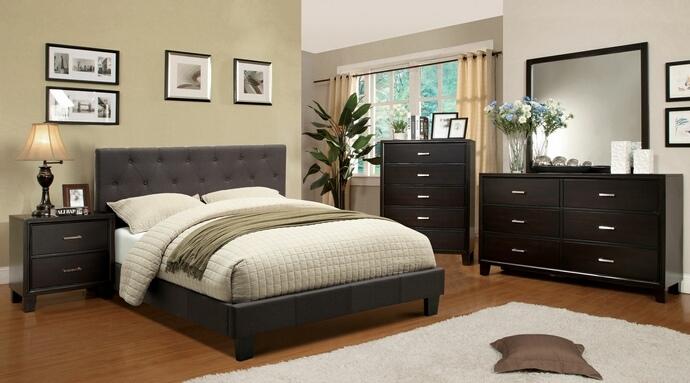 CM7200LB-CM7088 4 pc leeroy gray padded fabric contemporary style espresso wood finish queen platform bedroom set