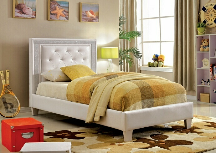 CM7217WH Lianne collection white padded and tufted leatherette twin bed set with crystal like acrylic button tufting