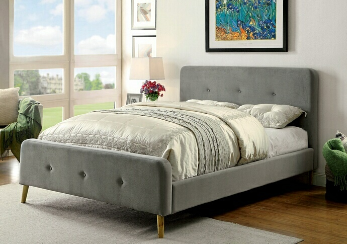 CM7272GY-Q Barney collection gray padded flannelette fabric queen bed set