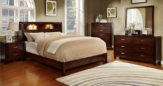 CM7290CH 5 pc Gerico I collection contemporary style brown cherry Finish Wood paneled design Queen platform Bedroom Set with bookcase headboard