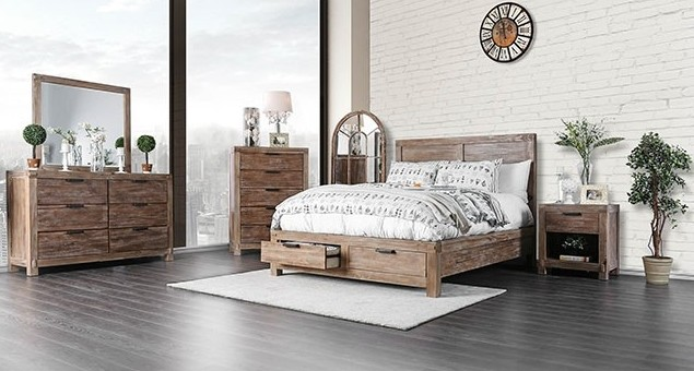 Furniture of america CM7360 5 pc Wynton weathered light oak finish wood platform queen bedroom set