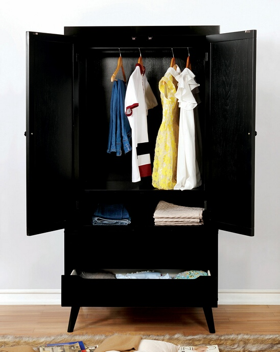 CM7386BK-AR Lennart collection mid century modern black finish wood clothing armoire stand alone closet cabinet
