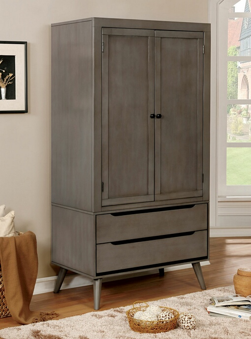 CM7386GY-AR Lennart collection mid century modern gray finish wood clothing armoire stand alone closet cabinet