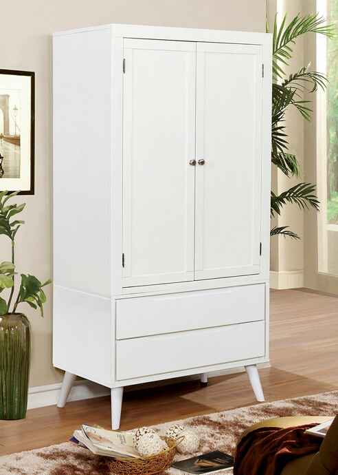 CM7386WH-AR Lennart collection mid century modern white finish wood clothing armoire stand alone closet cabinet