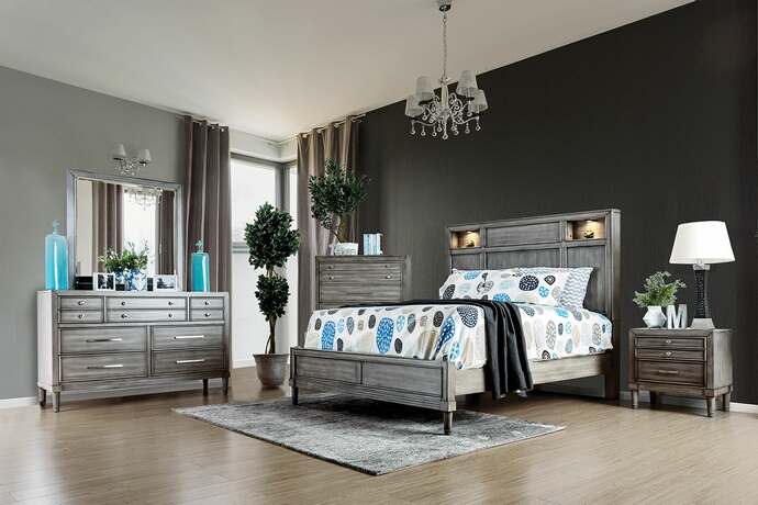 CM7556 5 pc Daphne collection transitional style gray finish wood queen bed set