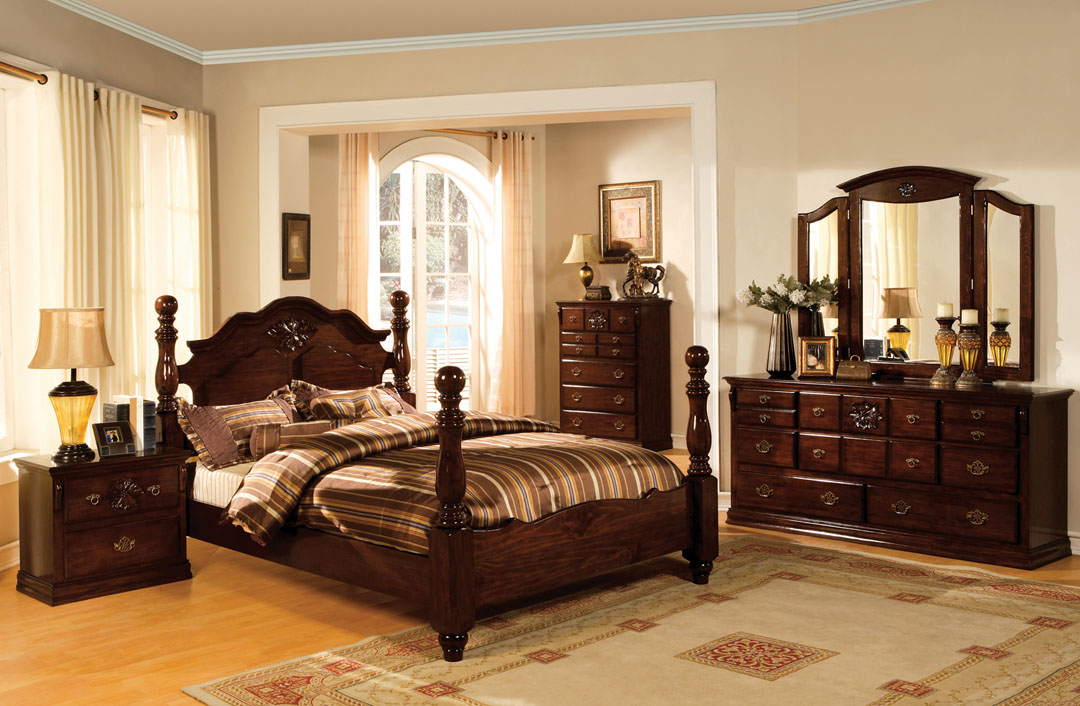 CM7571Q-1 5 pc tuscan ii dark pine finish wood queen bedroom set