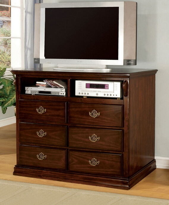 CM7571TV Tuscan collection contemporary style glossy dark pine finish wood TV console media chest