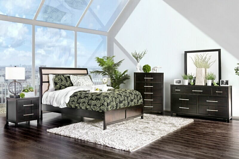 5 pc Berenice collection espresso finish wood padded headboard queen bedroom set