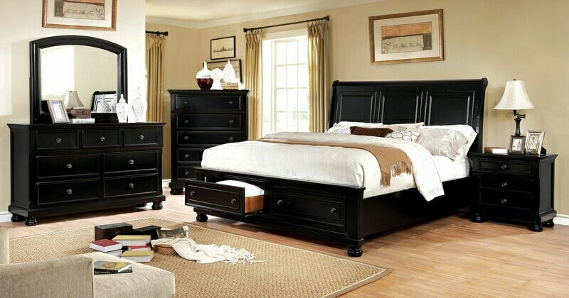 CM7590BK-5pc 5 pc Castor collection black finish wood w/ drawers in footboard queen bedroom set