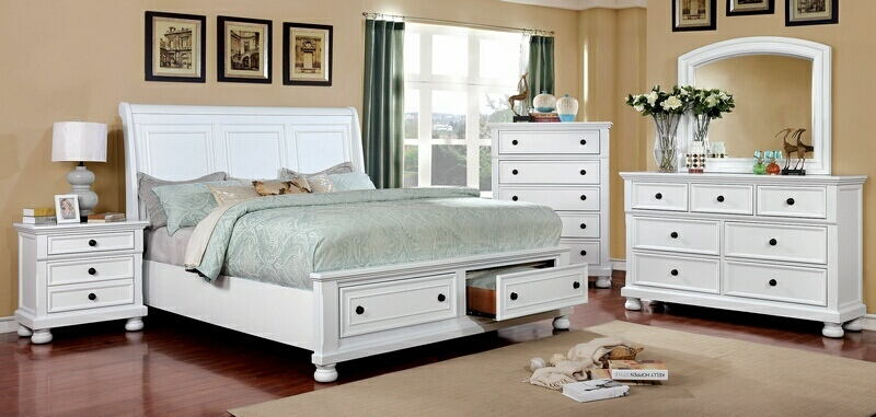 CM7590WH-5pc 5 pc Castor collection white finish wood w/ drawers in footboard queen bedroom set