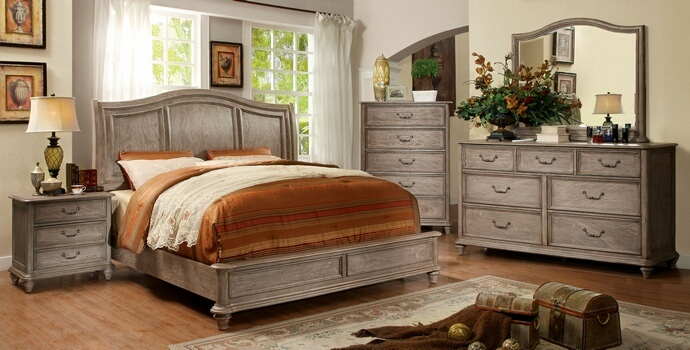 CM7611 5 pc Belgrade II collection rustic natural tone finish wood Queen bed set  with low footboard