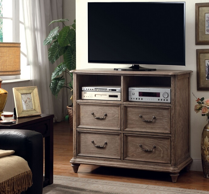 CM7611TV Belgrade collection contemporary style rustic natural finish wood TV console media chest