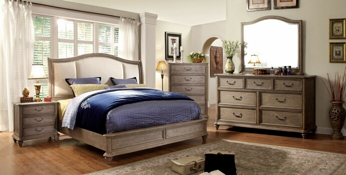CM7612-7611 5 pc belgrade ii collection rustic natural tone finish wood queen padded headboard bed set with low footboard