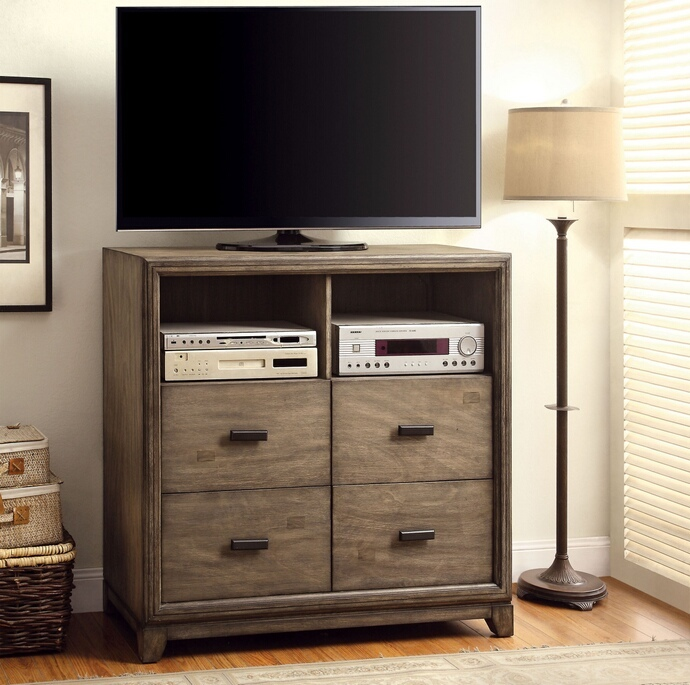 CM7615TV Antler collection contemporary style antique dark oak finish wood tv console media chest