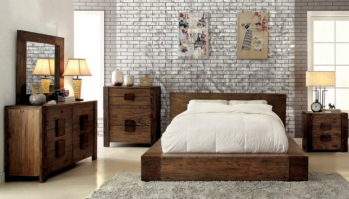 CM7628 5 pc janeiro ii collection transitional style rustic natural tone finish wood queen bed set