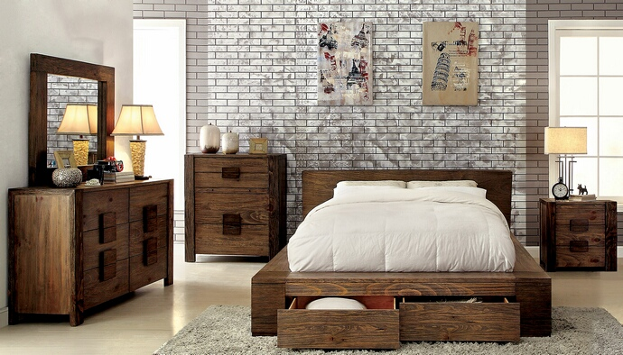 CM7629 5 pc Janeiro collection transitional style rustic natural tone finish wood Queen bed set with drawers in the footboard