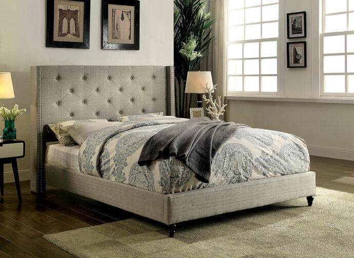 CM7677GY Anabelle collection warm gray fabric upholstered and tufted tall queen headboard bed frame set