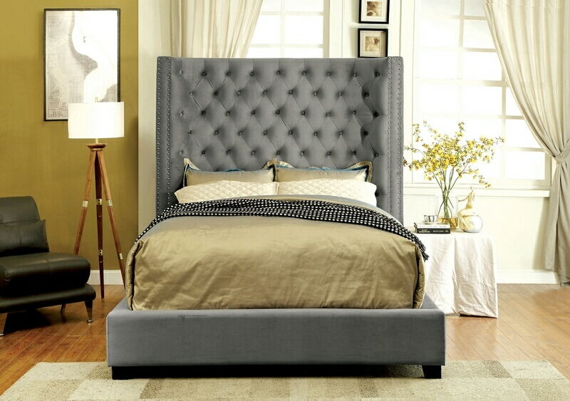 Cm7679gy Mirabelle Collection Gray Fabric Upholstered And Tufted