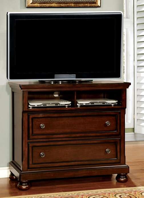 CM7682TV Northville collection contemporary style cherry finish wood TV console media chest