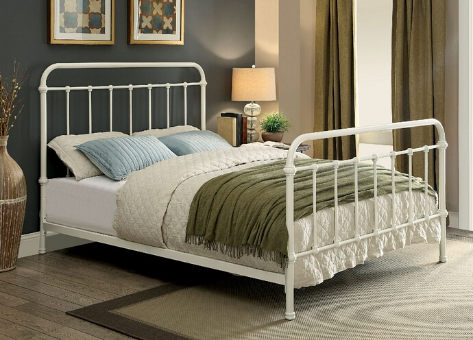 CM7701WH Iria collection contemporary style vintage white metal finish queen headboard and footboard