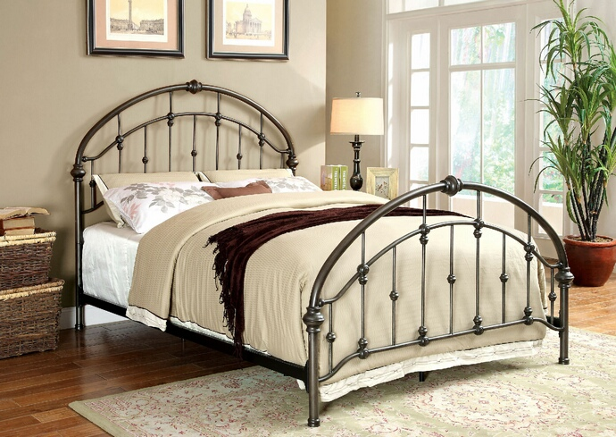 CM7702 Carta collection contemporary style brushed bronze metal finish queen headboard and footboard
