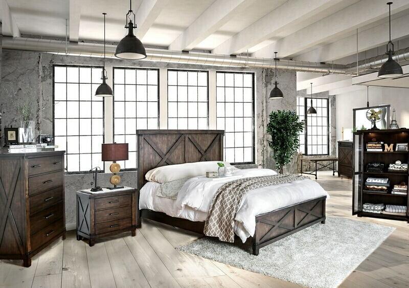 CM7734-5pc 5 pc Bianca dark walnut finish wood w/ plank style look queen  bedroom set