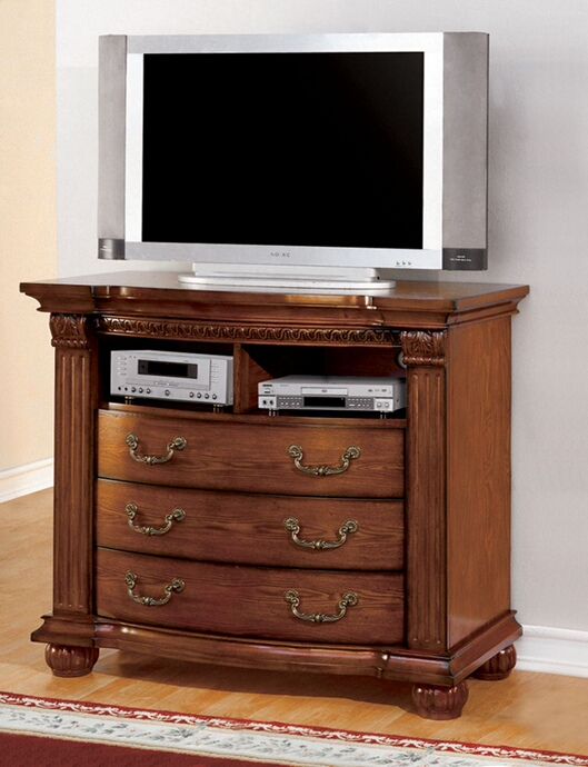 CM7738TV Bellagrand collection contemporary style antique tobacco oak finish wood tv console media chest