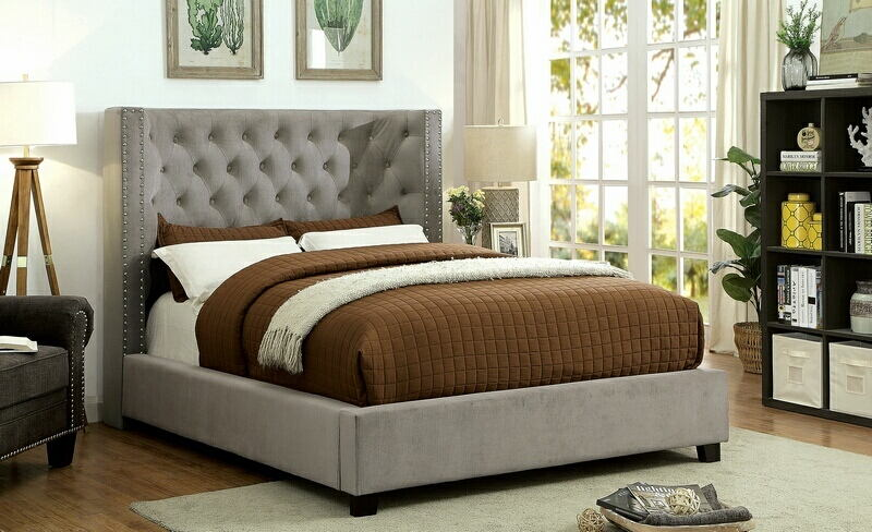 Cayla collection gray padded and tufted flannelette queen bed set with nail head trim