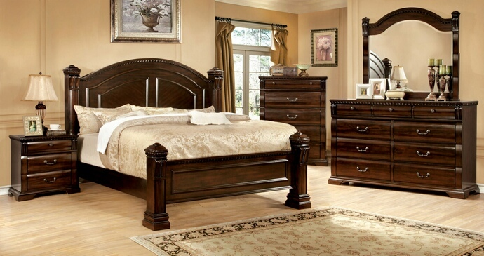 CM7791 5 pc Burleigh collection cherry finish wood Queen bed set with large short posts on the foot and headboards