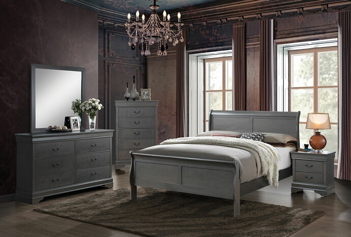 CM7866GY 5 pc Louis Phillipe III collection contemporary style gray finish wood sleigh queen bedroom set