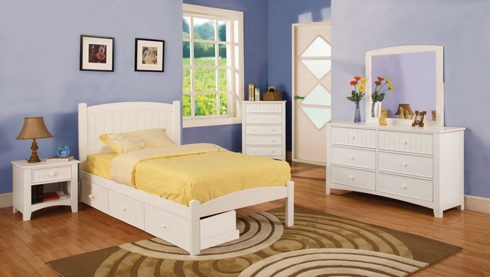 CM7902WH-T 4 pc caren twin platform bed with panel headboard  white wood finish