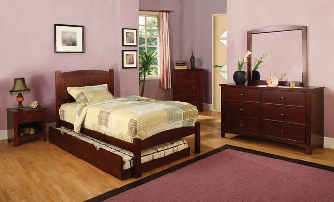 CM7903CH-T 4 pc Cara I Twin Platform Bed with Panel Headboard Cherry Wood Finish