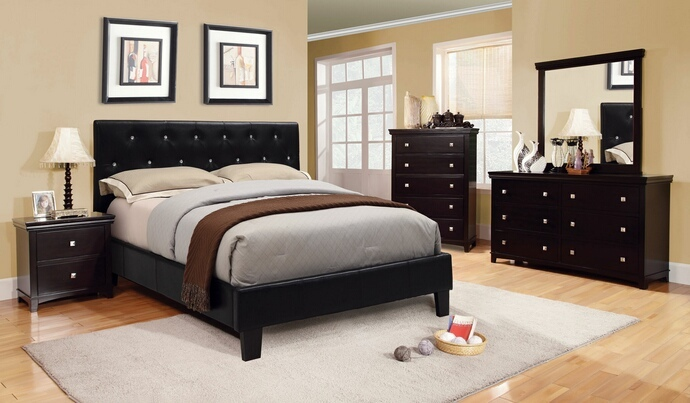 CM7949BK-CM7113EX 5 pc jasmine collection black padded and crystal tufted leatherette upholstered contemporary style espresso finish wood queen platform bedroom set