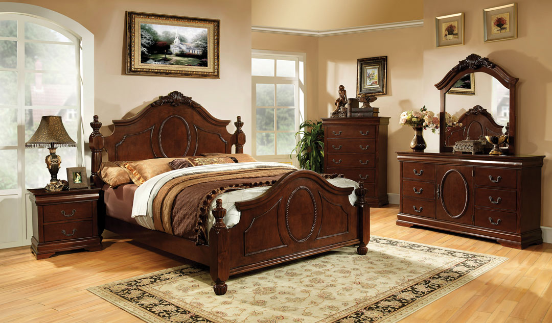 CM7952-1 5 pc Velda II luxurious english style warm cherry finish wood queen bedroom set with ornamental headboard and footboard