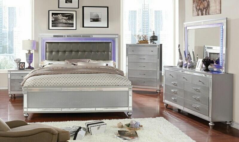 CM7977SV-5PC 5 pc Brachium silver finish wood queen bedroom set with mirror  accents