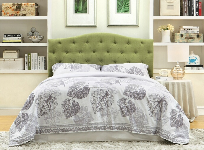 CM7989GR-HB Alipaz collection green linen like fabric rounded top tufted and padded Full / Queen size headboard