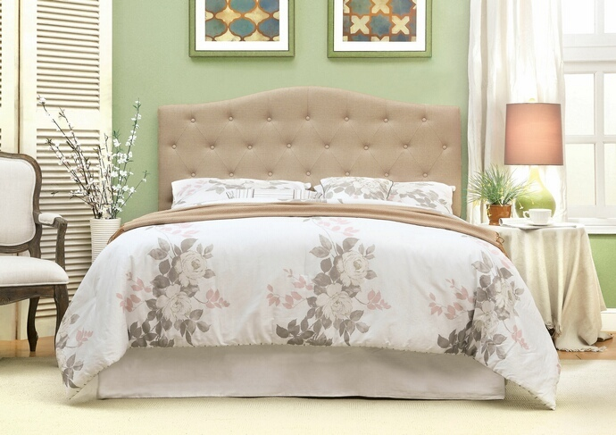 CM7989IV-HB Alipaz collection ivory linen like fabric rounded top tufted and padded Full / Queen size headboard