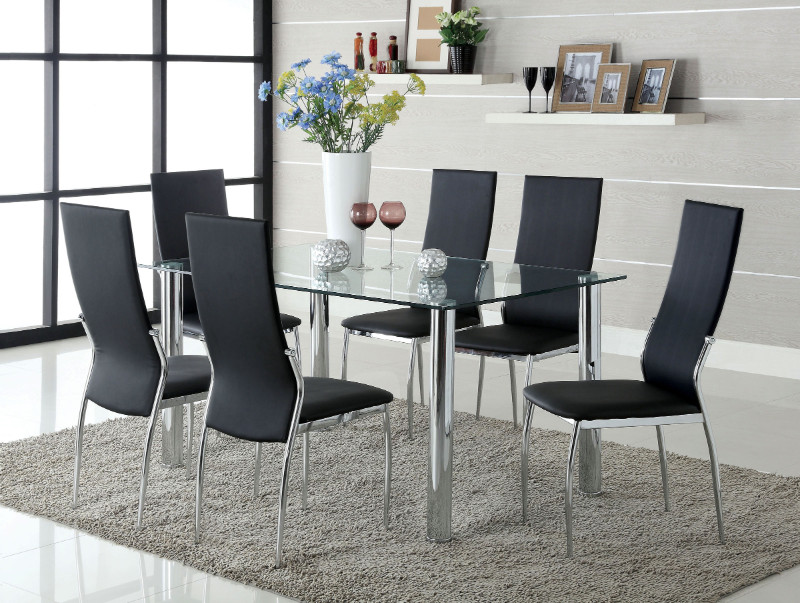 Furniture of america CM8319T-8310BK-7PC 7 pc kalawao ii chrome legs tempered glass top dining table set