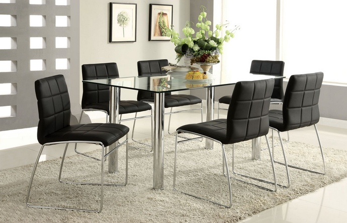 CM8319T-BK 7 pc. oahu contemporary style glass table top with chrome finish legs