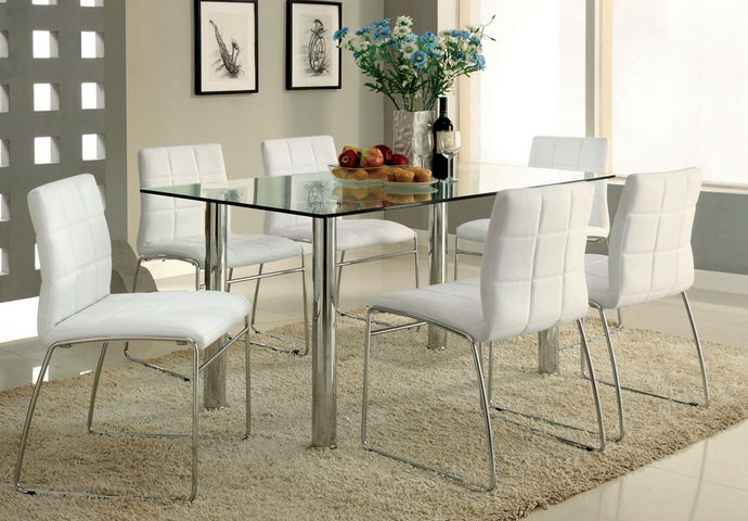 CM8319T-WH 7 Pc. white leather like vinyl upholstered Oahu Contemporary Style Glass Table Top with Chrome Finish Legs