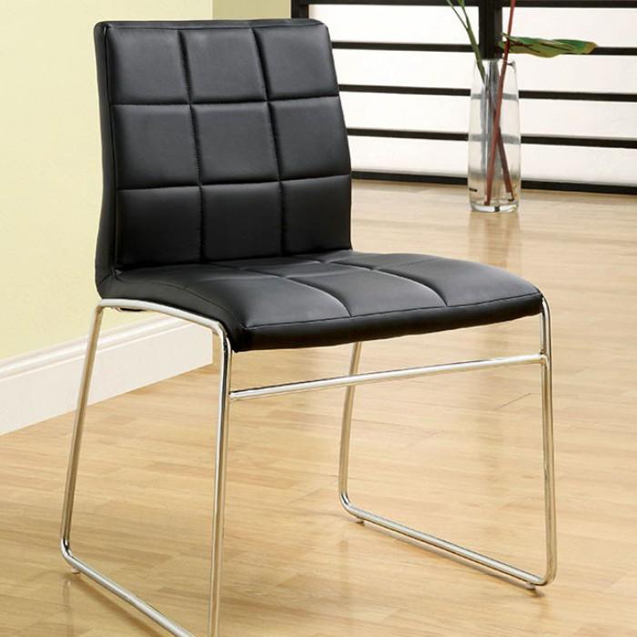 CM8320BK Set of 2 Kona black leatherette side chairs with chrome legs
