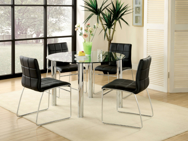 "Furniture of america CM8320T-BK-5PC 5 pc kona 45"" round glass dining table set with chrome legs"
