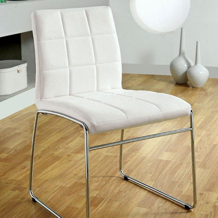 CM8320WH Set of 2 Kona white leatherette side chairs with chrome legs