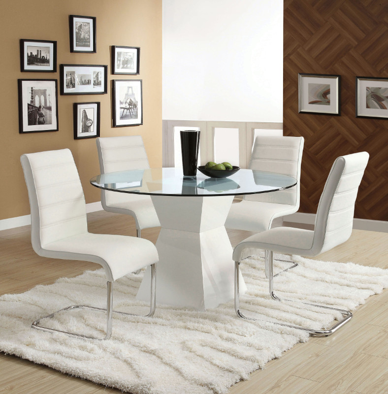 "Furniture of america CM8371WH-T-5PC 5 pc mauna modern 45"" round glass table top white base dining table set"