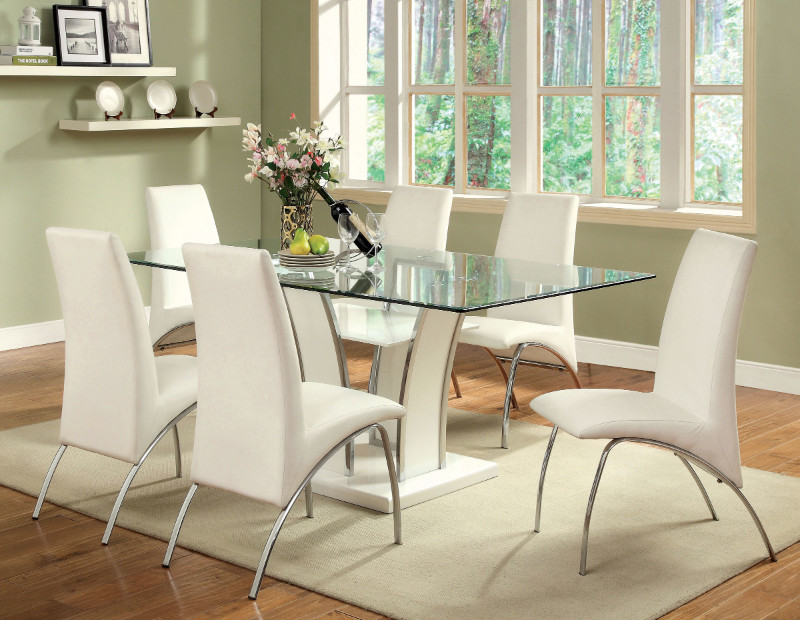 CM8372T-WH-8370WH-7PC 7 pc Florencine glenview white finish wood chrome trim base beveled glass top dining table set