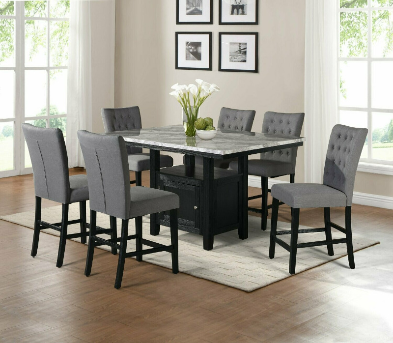 D108-7PC 7 pc Darby home co lona espresso finish wood faux marble top counter height storage pedestal dining table set