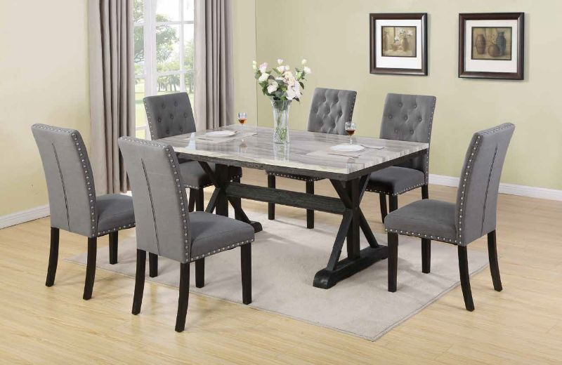 D116-7PC 7 pc Darby home co lona espresso finish wood faux marble top dining table set