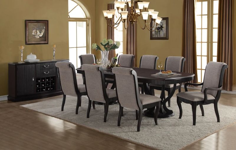 Mc Ferran MF-D1600-7PC 7 pc Canora grey schreffler dark finish wood double pedestal dining table set