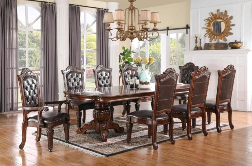 Mc Ferran D1800-7PC 7 pc Astoria grand wexler dark finish wood double pedestal dining table set
