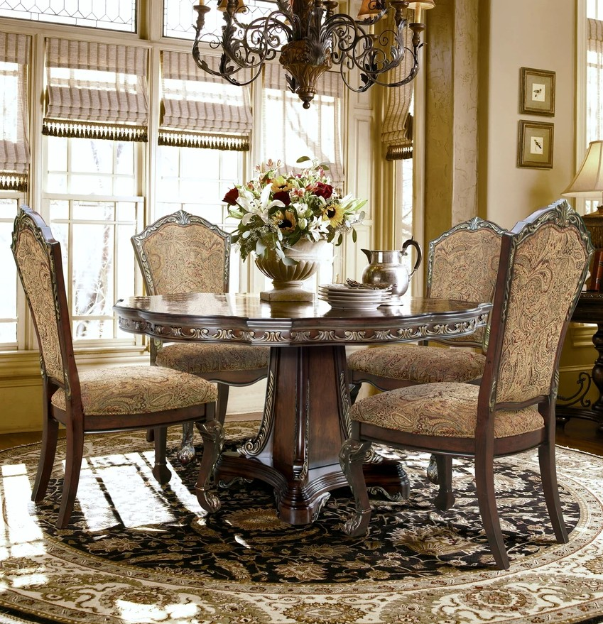 """Mc Ferran D189-6060-5PC 5 pc Astoria grand swartwood dark finish wood brushed gold accents 60"""" round dining table set"""